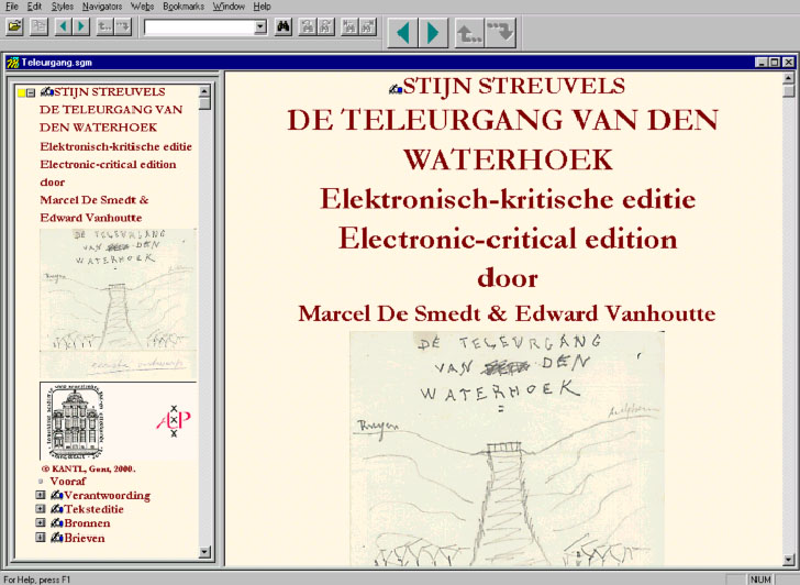 The opening screen of the electronic-critical edition.